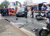 Policjant ranny w wypadku w Kostrzynie