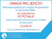 Szpital wstrzymuje badania komercyjne w kierunku COVID-19